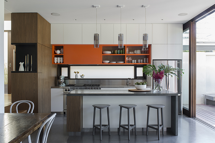 Bright orange kitchen cabinets